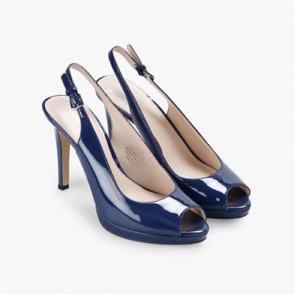 1e69f56018a Nine West Navy Blue Peeptoe Slingback Heels 9